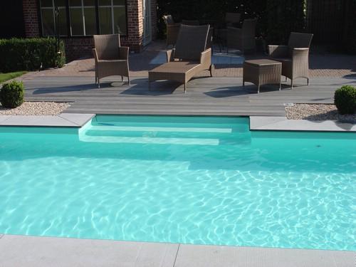 Blokit zwembad groene liner en zij inlooptrap aquacenter for Zwembad houtlook