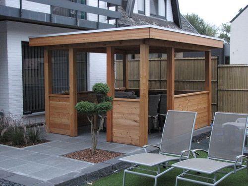 Pergola woodstar modern plat dak epdm lariks hout aquacenter hoveniertje wellen - Pergola met dak ...
