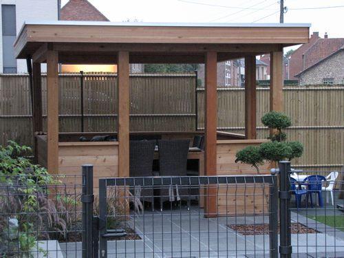 Pergola woodstar modern plat dak epdm lariks hout aquacenter hoveniertje wellen - Pergolas hout adossee ...