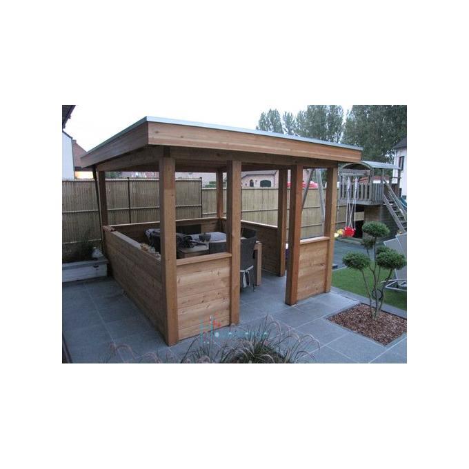 Pergola woodstar modern plat dak epdm lariks hout aquacenter hoveniertje wellen - Bedek pergola hout ...